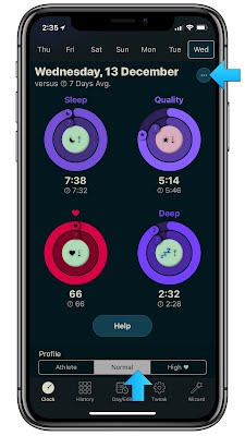 AutoSleep Quality 7 Day View