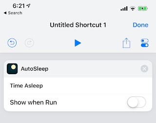 Add Time Asleep Shortcut