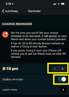 Setting the charge reminder on iPhone